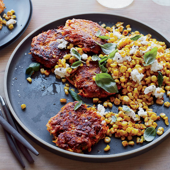 Sweet Potato Cakes with Yellow Corn, Basil and Goat Cheese