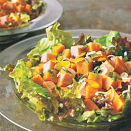 Sweet-Potato Salad with Ham and Curried Almonds