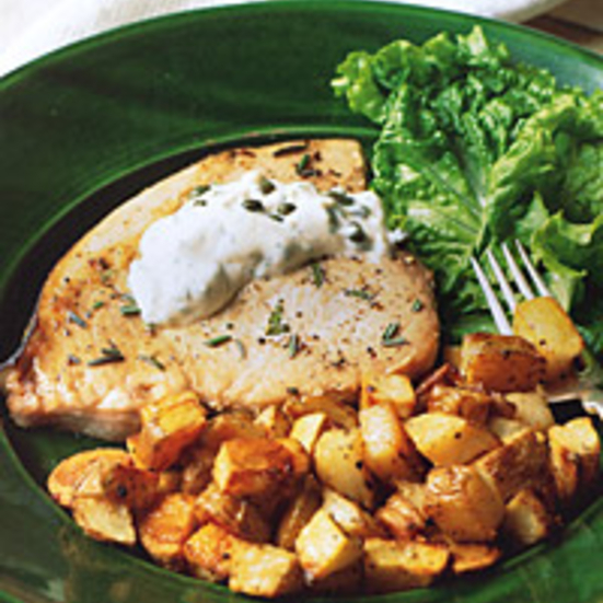 Roasted Swordfish and Potatoes with Caper Mayonnaise