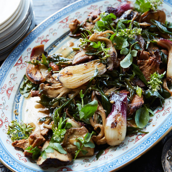 Warm Mushroom and Charred Onion Salad