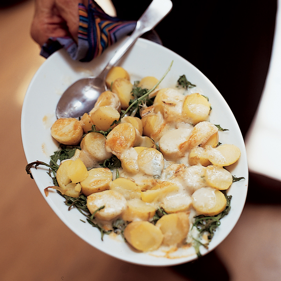Warm New Potato Salad with Taleggio and Arugula