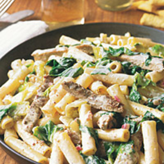Ziti with Pork and Escarole in Creamy Thyme Sauce