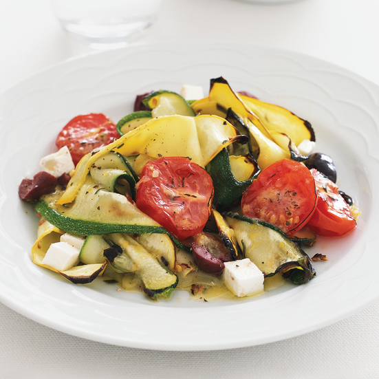 Zucchini Pappardelle with Tomatoes and Feta