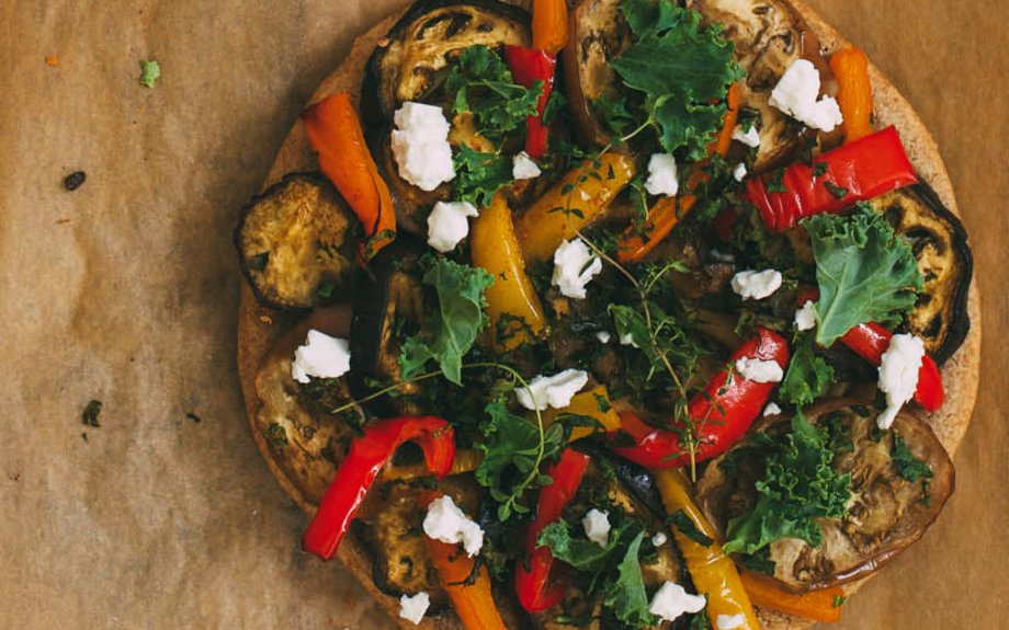 Buckwheat Crust Pizza with Roasted Vegetables