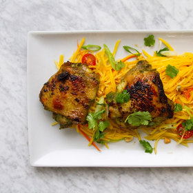 Food & Wine: Crispy Chicken Thighs with Green Papaya Salad