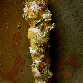 Food & Wine: Broccoli Stems with Lardo & Fresh Coriander Seeds