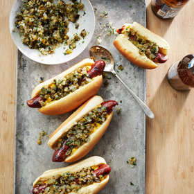 Food & Wine: Hot Dogs with Grilled Pickle Relish