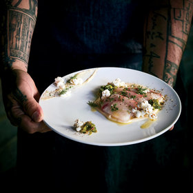Food & Wine: Striped Bass Crudo with Popcorn Crema and Shishito Vinaigrette