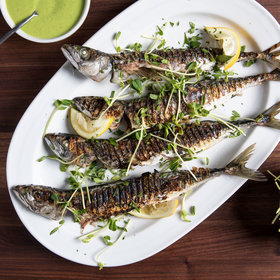 mkgalleryamp; Wine: Grilled Herring with Peas, Mint and Meyer Lemon