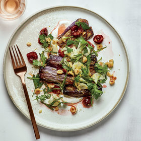 mkgalleryamp; Wine: Baharat-Spiced Eggplant with Hazelnuts, Cherries and Tarragon