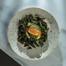 Food & Wine: Green Eggs with Whipped Goat Cheese and Grilled Kale