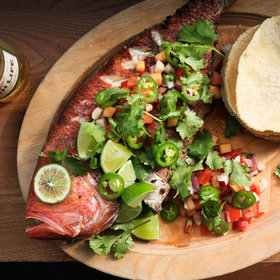 Food & Wine: Grilled Fish Tacos with Cantaloupe Pico De Gallo