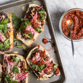 mkgalleryamp; Wine: Chorizo Molletes with Roasted Salsa and Pickled Onion