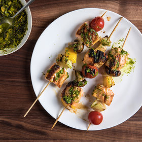 Food & Wine: Salmon Skewers with Almond Charmoula