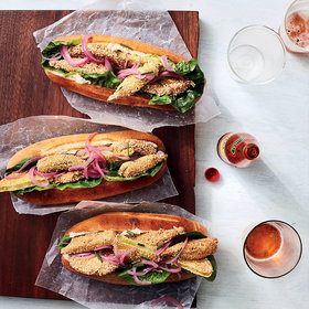 Food & Wine: Fried Green Tomato and Okra Po'boys with Smoked-Fish Vinaigrette