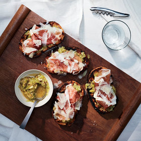 Food & Wine: Tomatillo Toasts with Prosciutto and Manchego