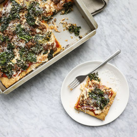 Food & Wine: Gluten-Free Pizza with Sausage, Kale and Red Onion