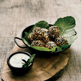 mkgalleryamp; Wine: Baked Kabocha Falafel with Almond-Milk Yogurt