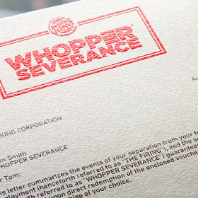Food & Wine: Burger King Offers Free Burgers for Fired Customers as 'Whopper Severance'