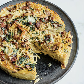 Food & Wine: Spaghetti Pie with Wild Mushrooms and Spinach