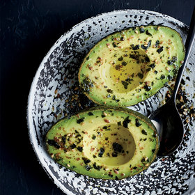 mkgalleryamp; Wine: Avocado Halves with Flaxseed Furikake
