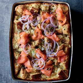 mkgalleryamp; Wine: Rye and Crème Fraîche Strata with Smoked Salmon
