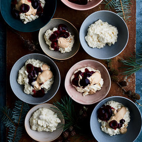 Food & Wine: Almond Rice Pudding with Sweet Cherry Sauce and Caramel Cream