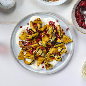 mkgalleryamp; Wine: Delicata Squash with Labneh and Pomegranate Seeds