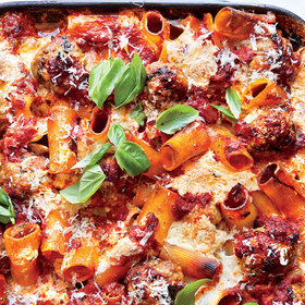 Food & Wine: Shortcut Baked Rigatoni with Meatballs