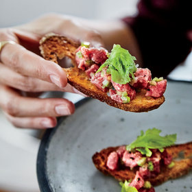 mkgalleryamp; Wine: Beef Tartare with Celery and Parmigiano-Reggiano