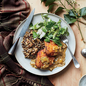 Food & Wine: Braised Chicken Thighs with Apples and Wild Rice