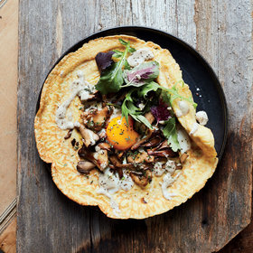 mkgalleryamp; Wine: Wild Mushroom Crêpes with Sunny Eggs