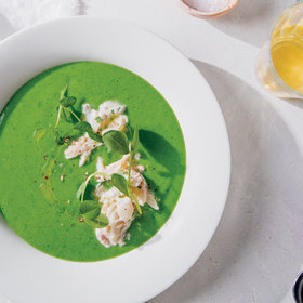 Food & Wine: Chilled English Pea Soup with Crab and Meyer Lemon