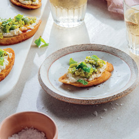 Food & Wine: Crostini with Ricotta, Honey, and Fava Beans
