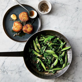 Food & Wine: Butter-Basted Scallops with Spring Greens and Snap Peas