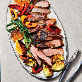 mkgalleryamp; Wine: Mojo Pork Steak with Seared Avocados and Oranges