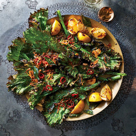 mkgalleryamp; Wine: Grilled Greens with Popped Mustard Seeds and Ginger