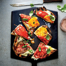 Food & Wine: Crackly and Chewy Grilled Flatbreads with Herbed Cheese Spread and Tomatoes