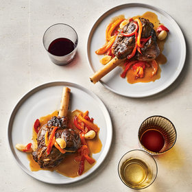 mkgalleryamp; Wine: Garlicky Braised Lamb Shanks with Sweet Peppers