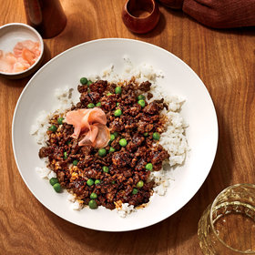 Food & Wine: Soboro Donburi (Gingery Ground Beef with Peas over Rice)