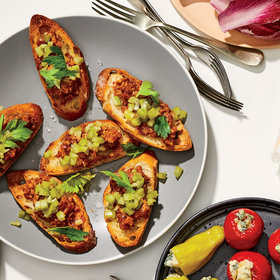 mkgalleryamp; Wine: 'Nduja Toasts with Quick-Pickled Celery