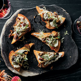 mkgalleryamp; Wine: Mushroom Toasts with Délice de Bourgogne