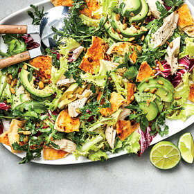 mkgalleryamp; Wine: Peppery Greens Salad with Avocado, Chicken, and Tortilla Croutons