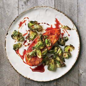 Food & Wine: Honey-Glazed Sweet Potato Steaks with Brussels Sprouts