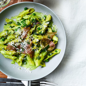 Food & Wine: Garganelli with Speck, Peas, and Scallion Cream