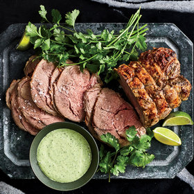 mkgalleryamp; Wine: Cold Roasted Leg of Lamb with Cilantro-Jalapeño Yogurt