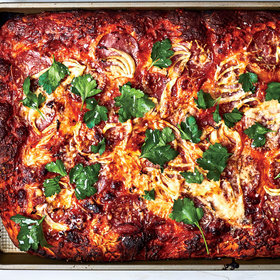 Food & Wine: Spring Onion and Salami Sheet-Pan Pizza