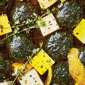 "Food & Wine: Marinated Feta with Lemony Herb ""Jam"" Balls"