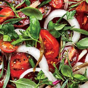 mkgalleryamp; Wine: Heirloom Tomato Salad with Pickled Ramp Vinaigrette