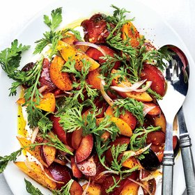 mkgalleryamp; Wine: Tomato and Plum Salad with Chrysanthemum Greens and Madras Curry Vinaigrette